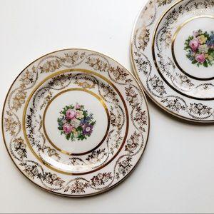 2 Vtg Atlas China Bread/Salad Plates 22K Gold USA